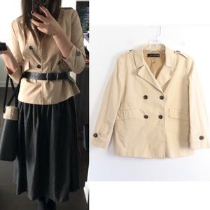 Zara woman short trench cotton double-breasted S